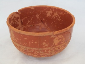 Image of reconstructed Samian bowl including colourmatched gap fills